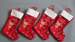 Wholesale Merry Christmas Decorations snowflake deer Christmas stocking gift bag candy apple bags wrap long stockings socks red Festive Party Supplies