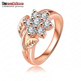 Wholesale Hot Selling Fashion K Rose Gold Plate Pave Austrian Crystals Flower Engagement Rings Wedding Jewelry anillos de boda RIC0012