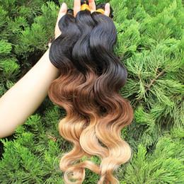 New Sale #1B #4 #27 Ombre Color Brazilian Hair 3Pcs Lot 300Gram Body Wave Hair Bundles Top Quality Virgin Unprocessed Brazilian Human Hair