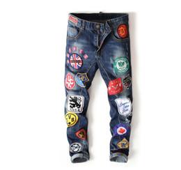 Famous Brand Designer denim jeans Justin Bieber Men Jean Ripped Jeans Blue Mens Designer Denim Pants hip hop Embroidery more badges