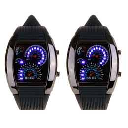 Wholesale 2015 Fashion Cool Flash LED Digital Watch Innovative Car Meter Air Race Sports Dial Led Electronic Binary Watches Mutilcolor Newest
