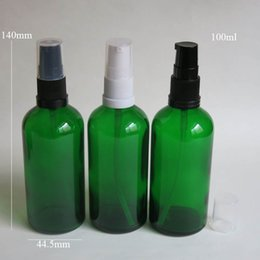 wholesale 10 pcs lot 100ml Green Glass Bottle With Lotion Pump, Essential Oil Glass Bottle, Empty Packing Bottles