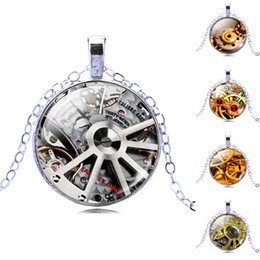 Wholesale Assorted Vintage Gemstone Steampunk Pendant Necklace Glass Cabochon Pendant Silver Plated Art Picture Chain Necklace Mysterious jewelry Gift