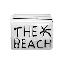 Wholesale The Beach Lucky European Charm Spacer Metal Bead Large Hole Slide Bead Summer Theme Fit Pandora Bracelet