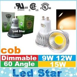 E27 ce smd en Ligne-CE ul saa Dimmable E27 E14 GU10 MR16 Ampoules à LED Lumières cob 9W 12W 15W Spot Led Ampoules Lampe AC 110-240V / 12V
