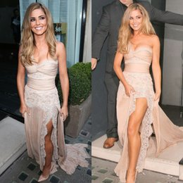 Wholesale Sexy Lace Sheer Prom Dresses A Line Strapless Split Front Backless ZUHAIR MURAD Cheryl Cole Wearing Celebrity Party Gowns Dhyz