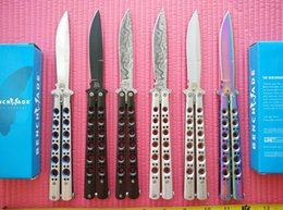 Wholesale 6 styles BM BM42 balisong knives C steel Plain Bali song Spear point Folding blade Tactical knife knives with nylon sheath