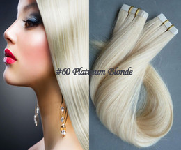 Wholesale Best Remy Human Hair Platinum Blonde Skin Weft Tape In Human Hair Extensions Peruvian Straight Hair inch g pieces