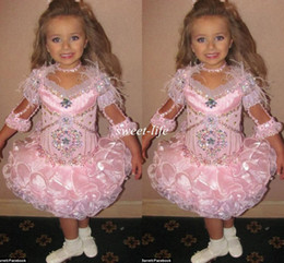 Wholesale Isabella Barrett Girls Pageant Dresses Pink Knee Length with Sleeves Crystals Feather Organza Little Baby Toddler Flower Girls Dresses