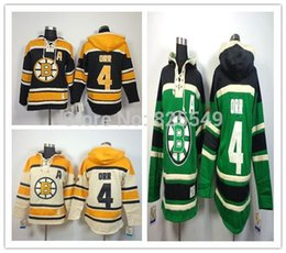 Cheap NWT Men's Boston Bruins Hoodies Jerseys #4 Bobby Orr Black Beige Green Old Time Hockey Hooded Sweatshirts Stitched Jersey