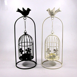 Wholesale 2015 Vintage candle holder home docor romantic KX8008 large bird cage hanging wrought iron candlestick lan