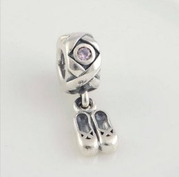BALLET SLIPPERS DANGLE CHARM DIY Beads Real Solid 925 Sterling Silver Not Plated Fits Original Pandora Bracelets & Bangles & Necklaces