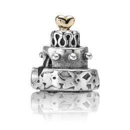Wholesale Big Nice Birthday Cake Design Sterling Silver European Bead Charms For Best New DIY Women Snake Bracelet Bangle Jewelry Gift