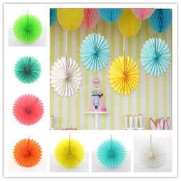 Wholesale New Arrival Tissue Paper Fans Inch Orange Paper Fan for Wall Decoration
