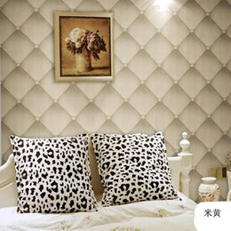 Wholesale 2016 New Looks Like Leather Softbag D Wallpaper Sofa TV Livingroom Bedroom Background Wall Paper Roll D Panel Papel De Parede AB5048