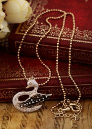 Wholesale Long K Beads Chain Swan Necklace Affordable Accessory By ShiJie