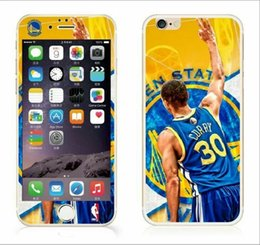 Wholesale Fashion Basketball Team Tempered Glass Premium Screen protector For Iphone S Plus S Front Back Film Guard James Curry Lakers Package