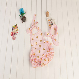 Wholesale Pink and Gold Polka Dots Bubble Romper Romper with knot headband set Summer baby bubble Romper Birthday gift for kids
