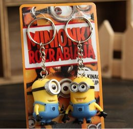 2pcs lot Minions Despicable ME Minion Toys Key Chains 3D Eyes Dolls kids Movie Figures Doll Key Ring Holder gifr for children