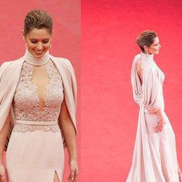 Wholesale Cannes evening dresses Cheryl Cole Mermaid Trumpet split lace sexy Temperament Plunging Neckline Custom Made Celebrity Dresses