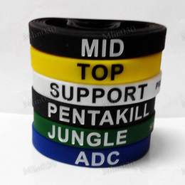 Vente au détail LOL GAMES Souvenirs Bracelet en silicone LIGUE de LEGENDS Bracelets avec ADC, JUNGLE, MID, SUPPORT, TOP, Nouveau style Carving DHL gratuit à partir de jeux jungle fabricateur