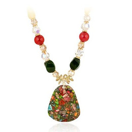 colorful crystal pendant crystal chain women's necklace (spwhy)