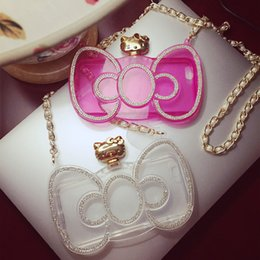 Wholesale Clear Diamond Metal Hello Kitty Mirror transparent case Design Silicone Case With Chain Handbag case for iPhone s plus s pink case