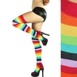 Wholesale Colorful Over Knee Socks - Gift Lovely rainbow knee thigh high stockings polyester colorful Ladies long women stripey stocking