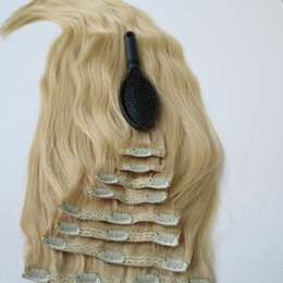 280g 20 22inch Clip in human Hair Extensions Brazilian Hair 613# Bleach Blonde Remy Straight Hair weaves 8pcs set free comb