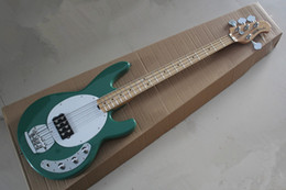 Free shipping High Quality Sting Ray 4 String Music Man Active Pickup Green Electric Bass Guitar Maple Neck