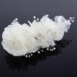 New Arrive Ivory Or Pink Flowers Hair Accessories Bridal Tiaras Pearl Bead Handmade Flower Party Prom Embellished Fascinator Headwear