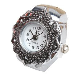Wholesale-Fashion Lovely Creative Tibet Silver Petal Flower Quartz Finger Ring Watch AO#P