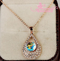 blue crystal waterdrop pendant silver chain lady's necklace (nnsssp)