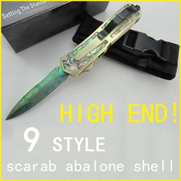 Scarab Gold Scarab Abalone Shell Puller Automatic Knives Double Action Out Front Knives 7cr17mov G10 Handle Hunting Auto Knife