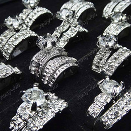 Wholesale 10pcs Jewelry Cubic Zircon Rhinestone in Engagement Wedding Rings
