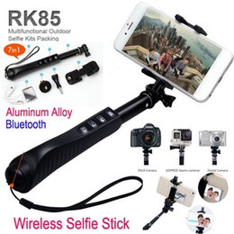 Wholesale RK85E in Aluminium Alloy Selfie Stick Handheld Monopod RK85 E Shutter zoom Bluetooth Self Timer For Iphone Android phone Gopro Camera