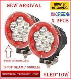 "EMS 2PCS 5"" 60W 6LED*10W CREE LED Driving Work Light Round Offroad SUV ATV 4WD 4x4 Transport Spot Beam 10-60V 6000lm RED Black Shell Frame"
