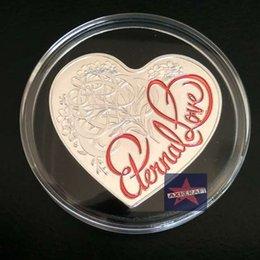 Wholesale Australia Loving Heart Shaped Colored Elizabeth II Love Silver Plated Australia challenge Coin