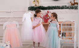 2015 Mini Girls Wedding Dresses Pearls Light Blue & Pink Lace Flower Girls Dresses with Half Sleeves and High Neck Tea Length Tulle