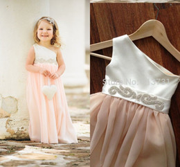 2019 Cute Flower girl Dress One shoulder Floor length chiffon satin Wedding party Dress Beading Ribbon Formal occasion dress BO6986