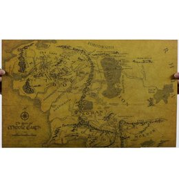 Wholesale Lord of the Rings middle earth map retro kraft paper posters wall stickers room decor home decal movie fans mural art home decorat