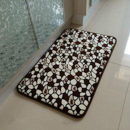Wholesale 40x60cm chocolate stone slow rebound memory foam absorbent non slip bathroom rug doormat carpet
