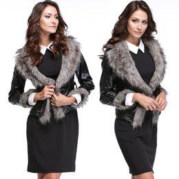 Wholesale Short Leather Lined Black Coat - 2015 Fashion Big Fur Collar Jacket Women Slim Outerwear Pu Leather Jacket Coat Winter Warm Fur Coat Free Shipping