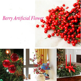 100pcs lot Artificial Holly Berries Flower Silk Flowers Fruits Wedding Christmas Artificial Bonsai Plants Home Decoration