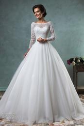 long sleeve wedding dresses 2016 amelia sposa muslim wedding gowns bateau neckline backless A line arabic bridal gowns