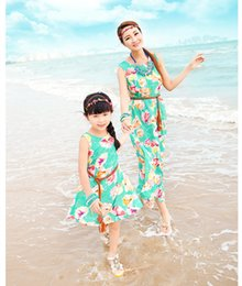 Wholesale-Fashion Mother Daughter Matching Clothes Swim Suits+Belt Mom and Daughter Causal Dress Women Hawaiian Bohemia Designer Swimwear