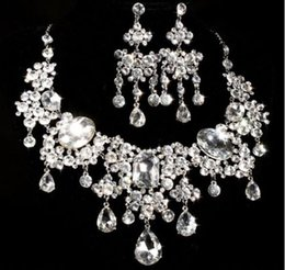 Fashion Prom Jewelry SET Clear Rhinestone Crystal Earrings Necklace Set Bridal Wedding Party Gift