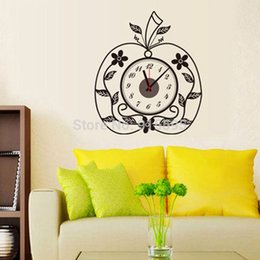 Wholesale Modern Acrylic Digital Apple Wall Clock Removable D Home Decor Vinyl Wall Decal Sticker Sofa Background cm