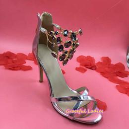 Silver Patent Leather Rhinestones Sandals Open Toe Criss Cross Straps Slingbacks Women 35-43 Wedding Shoes Crystal Ankle High Heel Stilettos