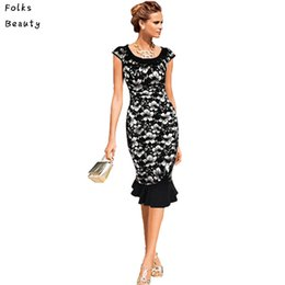 Wholesale-2015 Womens Vintage Elegant Formal Lace Button Tunic Wear To Work Mermaid Midi Pencil Wiggle Dress